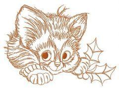 Adorable kitten 4 embroidery design