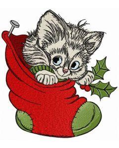 Adorable kitten embroidery design
