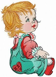 Adorable small girl embroidery design
