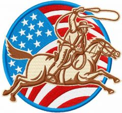 American cowboy badge embroidery design