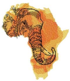 African elephant map embroidery design
