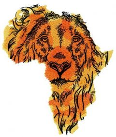 African lion embroidery design