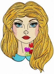 Alice with floral tattoo embroidery design