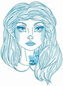 Alice with floral tattoo sketch embroidery design