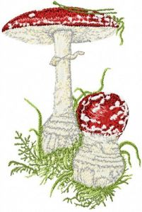 Amanita muscaria embroidery design