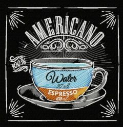 Americano recipe embroidery design