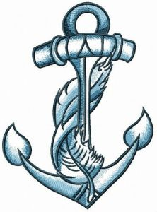 Anchor and feather embroidery design