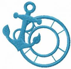 Anchor and lifebuoy embroidery design
