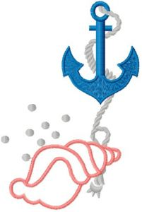 Shell and Anchor embroidery design