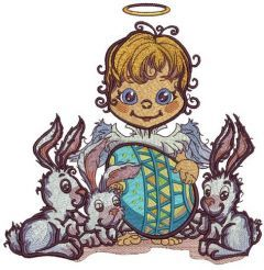 Angel and Easter bunnies embroidery design