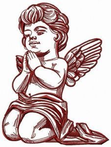 Angel bends the knee embroidery design
