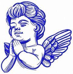 Angel thanks God embroidery design
