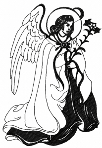 Angel with candle embroidery design