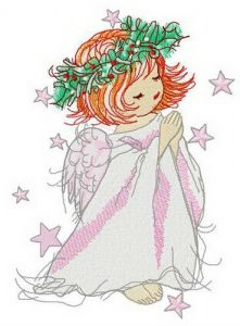 Angel with holly wreath embroidery design