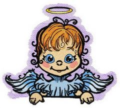 Angel with poster 6 embroidery design