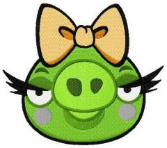 Angry Birds pig embroidery design