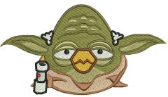 Angry Birds Yoda embroidery design