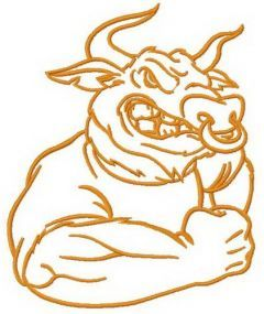 Angry bull machine embroidery design 2