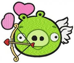 Angry Pig cupid embroidery design