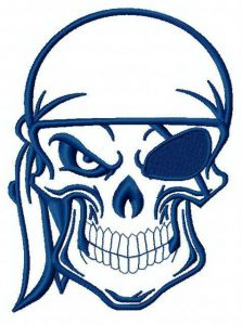 Angry pirate's skull machine embroidery design 4