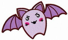 Angry purple bat embroidery design