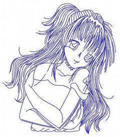 Anime girl 5 embroidery design
