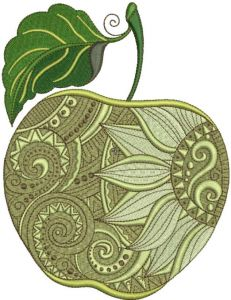 Apple with decor embroidery design