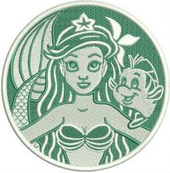 Ariel and Flounder badge embroidery design