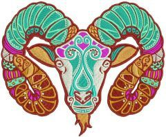 Zodiac sign Aries 5 embroidery design