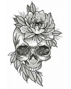 Aristocratic skull embroidery design