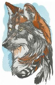 Attentive fox embroidery design