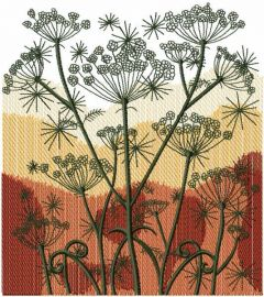 Autumn field embroidery design