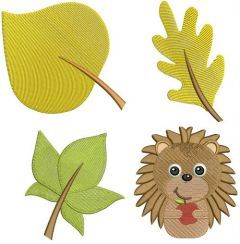 Autumn forest set embroidery design