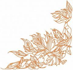 Autumn leaves one colored embroidery design
