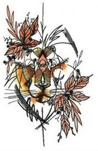 Autumn lion embroidery design
