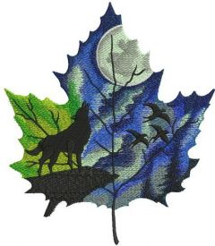 Autumn leaf maple leaf embroidery design