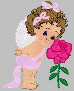 Baby angel with flower embroidery design