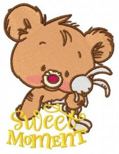 Baby bear with toy 3 embroidery design