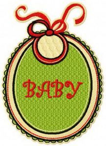 Baby bib badge embroidery design