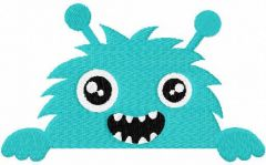 Baby blue monster free embroidery design