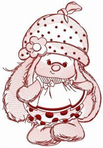 Baby girl bunny Mi embroidery design