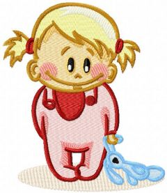 Baby girl with toy embroidery design