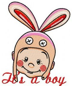 Baby in bunny hat 3 embroidery design