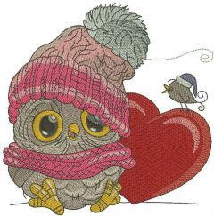 Baby owl with heart 2 embroidery design