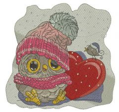 Baby owl with heart embroidery design