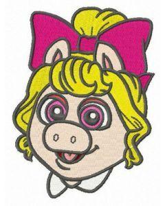 Baby Piggy head embroidery design