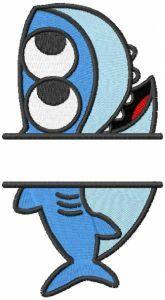 Baby shark monogram embroidery design
