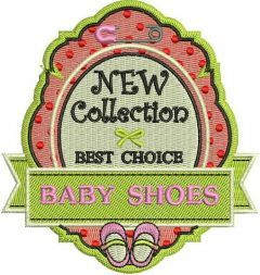 Baby shoes badge embroidery design