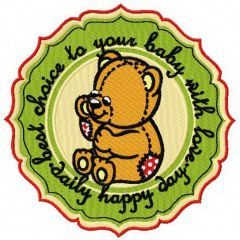 Baby toy bear badge embroidery design