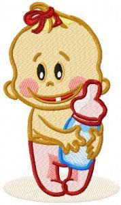 Baby with bottle embroidery design